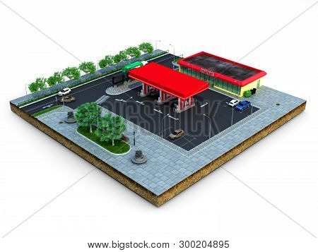 Piece Of Land Gas Station With Parking On The Ground 3d Render On White