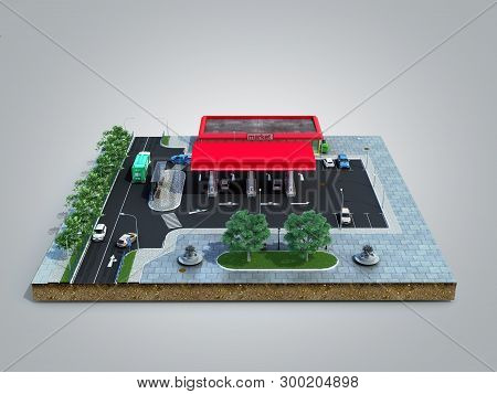 Piece Of Land Gas Station With Parking On The Ground 3d Render On Grey Gradient