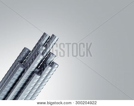 Reinforcement Steel Bar Steel Building Armature From Corner 3d Illustration On Grey Gradient
