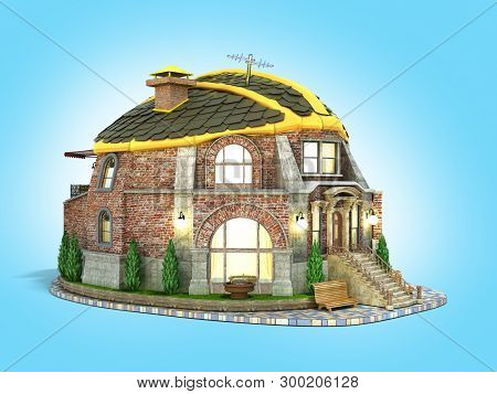 Construction Concept House In The Form Of A Construction Helmet 3d Render On Blue Gradient