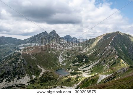 Rohace Mountain Group Scenery With Peaks And Lake From Derava Mountain Peak On Slovakian-polish Bord