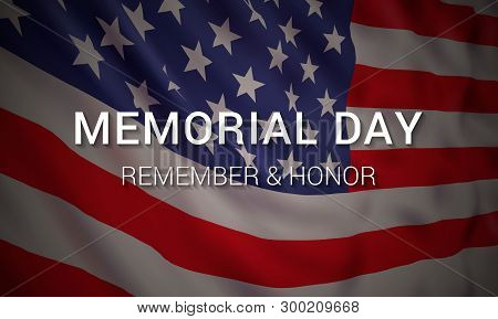 Memorial Day Vector Banner Design Template With Realistic American Flag And Text For Remembering And