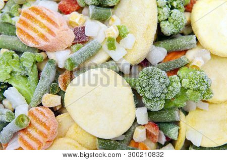 Close Up Of Mix Of Frozen Vegetables