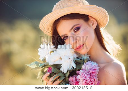 This Is My Best Summer Holiday Ever. Summer Girl With Long Hair. Woman With Fashion Makeup. Face And