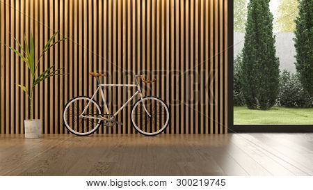 Interior of modern living room with bicycle 3D rendering
