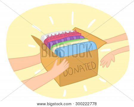 Cloth Donation Box Vector With Colorful Clothes In It. Hands Giving Box To Another Hand. Charity Car