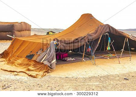 Bedouin Tent In The Sahara Desert, Morocco.