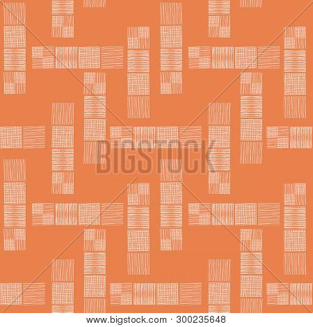 Tower Blocks Of Hand Drawn Doodle Squares In Spacious Abstract Design. Seamless Vector Pattern On Or