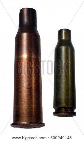 Military Bullet From Shells, War, Isolated On White Background. The Cost Of Armament.
