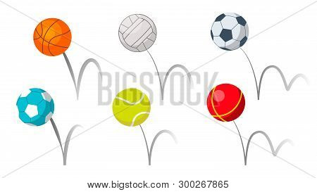 Bounce Balls Sport Playing Equipment Set Vector. Basketball And Soccer Or Football, Volleyball And T