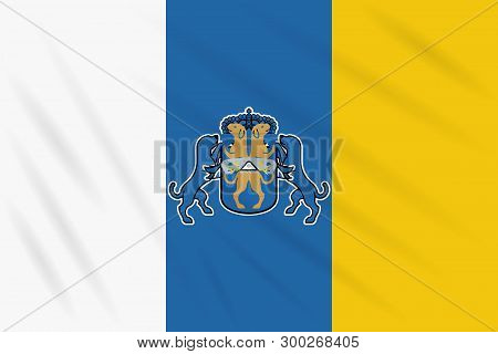 Flag Canary Islands Swaying In Wind, Realistic Vector