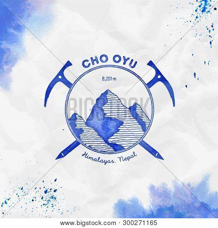 Cho Oyu Logo. Climbing Mountain Blue Vector Insignia. Cho Oyu In Himalayas, Nepal Outdoor Adventure