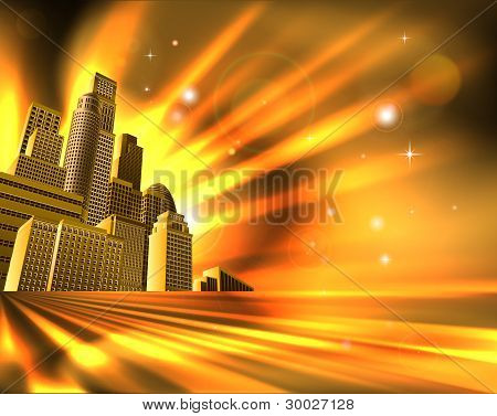 Orange Skyscraper Background