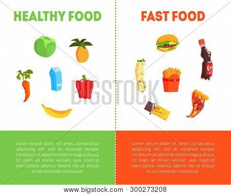 Food Choice, Healthy And Junk Food Banner Template With Place For Text, Fresh Vegetables Or Fast Foo
