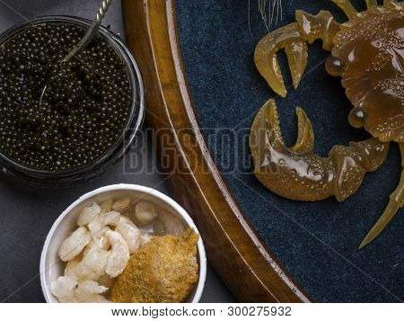 Natural Seafood Sources Of Vitamin B12 Cobalamin And Zinc As Scallop In Breadind, Shrimps, Black Cav