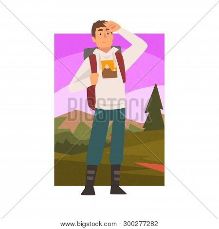 Young Man Travelling With Backpack, Male Traveller Looking Into Distance In Summer Mountain Landscap