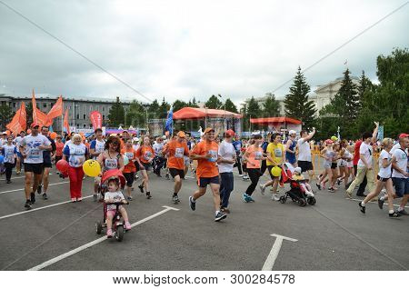 Omsk, Russia - August 07: Marathon Runners In Action At The Siberian International Marathon On Augus