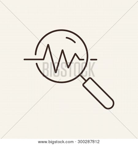 Signal Analysis Line Icon. Magnifying Glass, Graph, Polygraph. Research Concept. Can Be Used For Top