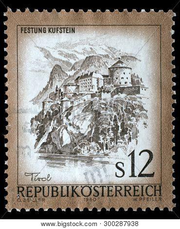 ZAGREB, CROATIA - AUGUST 29, 2014: Stamp printed in Austria shows Festung Kufstein castle in Tyrol, series