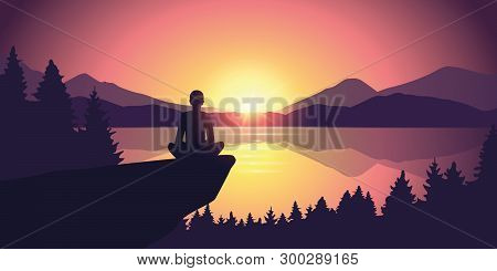 Person Enjoy The Silence At Purple Mountain Nature Landscape By The Lake At Sunset Vector Illustrati
