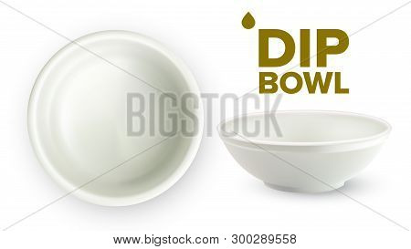 Empty White Ceramic Dip Bowl For Sauces Vector. Blank Round Classic Dishware Container Ramekin For S
