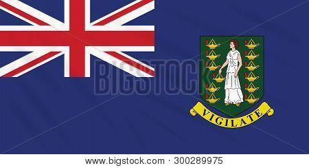 Flag British Virgin Islands Swaying In Wind, Realistic Vector