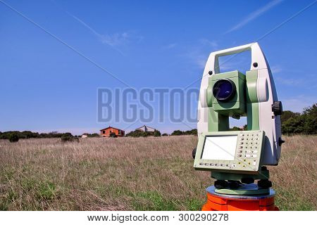 Total Station. Survey Instrument Geodetic Device. Fall Time Land Surveying, Total Station Set In The