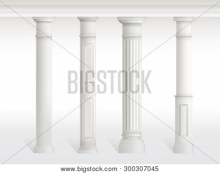 Antique Columns Set, Balustrade Isolated On White Background. Ancient Figured Pillars Connected At T