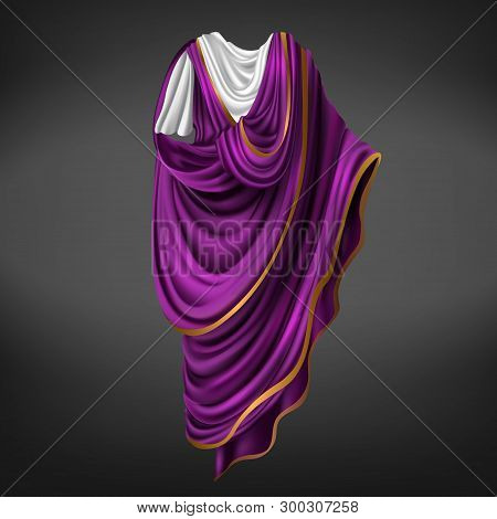 Roman Toga. Ancient Rome Commander Or Emperor Dress Male Made Of White, Purple Piece Of Fabric With