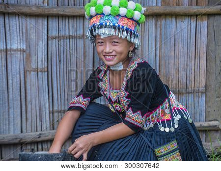 Bam Na Ouan , Laos - Aug 13 : Girl From The Hmong Minority In Bam Na Ouan Village Laos On August 13