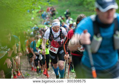 Perun Sky Marathon. Runners In Climb On Javorovy Hill.