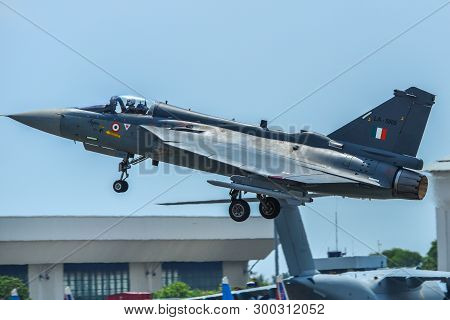 Langkawi, Malaysia - Mar 30, 2019. India Air Fore Hal Tejas Fighter Jet Taking Off From Langkawi Air