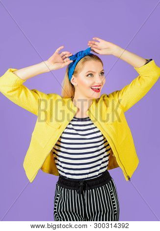 Expressive Facial Expressions. Smiling Retro Girl. Emotional Girl. Cheerful Woman With Clean Skin, B