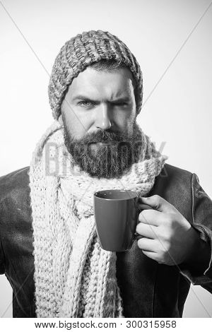 Serious Bearded Man Drinking Morning Espresso Coffee. Handsome Male Business Man Having Coffee. Bear
