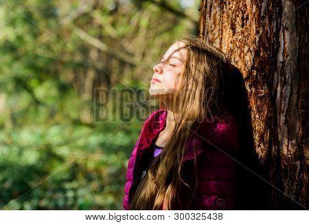 Girl Walk In Botanical Garden. Enjoying Nature. Peaceful Environment Garden. Kid Cute Fancy Child Sp