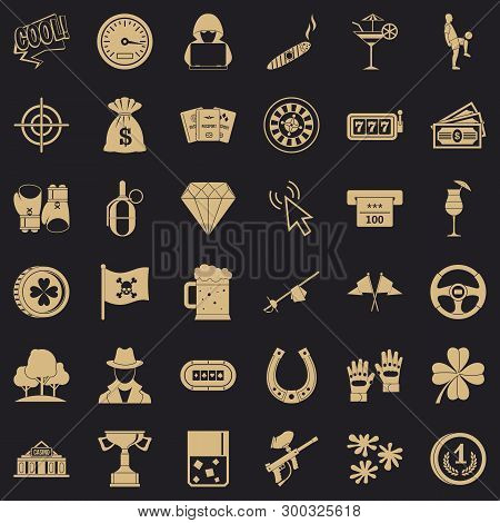 Blackjack Icons Set. Simple Style Of 36 Blackjack Vector Icons For Web For Any Design