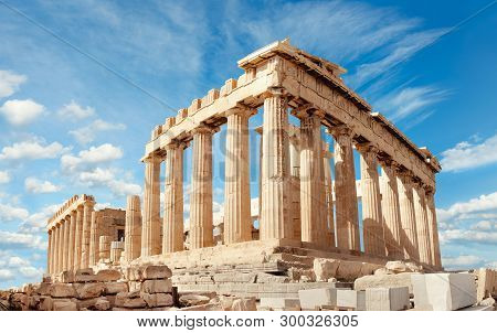 Parthenon Temple On A Bright Day. Acropolis In Athens, Greece