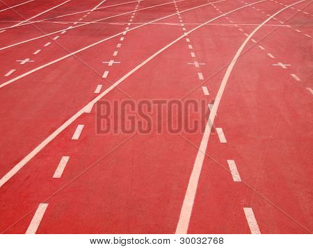 Lanes Of A Red Race Track
