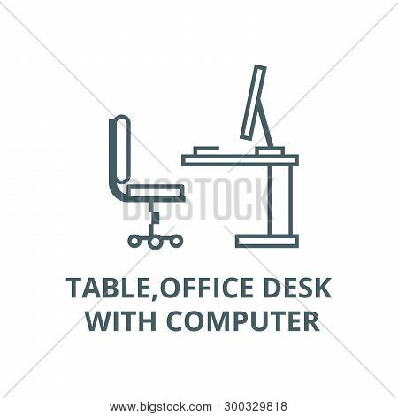 Table, Office Desk With Computer Sideview Vector Line Icon, Linear Concept, Outline Sign, Symbol