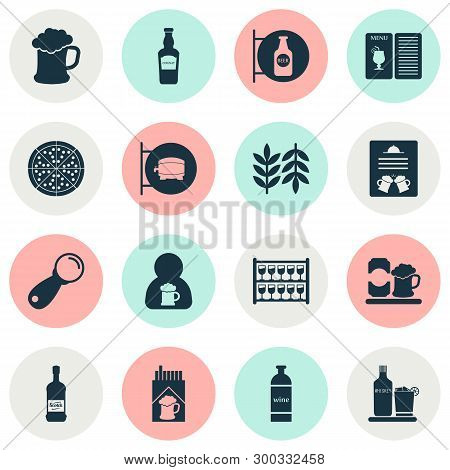 Alcohol Icons Set With Scotch, Elite Rum, Ale Sign And Other Beer Can Elements. Isolated Vector Illu