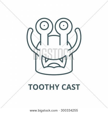 Toothy Cast Vector Line Icon, Linear Concept, Outline Sign, Symbol
