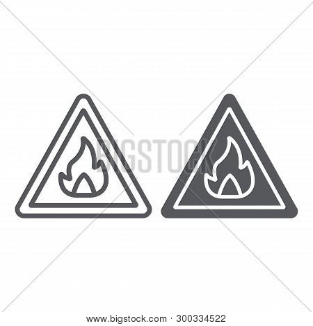 Flammable Sign Line And Glyph Icon, Warning And Attention, Fire Symbol Sign, Vector Graphics, A Line