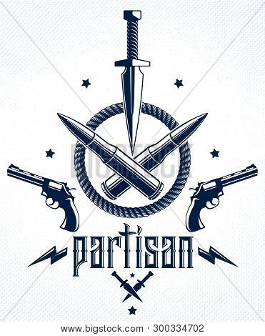 Dagger Knife And Other Weapons  Vector Emblem Of Revolution And War, Tattoo With Lots Of Design Elem