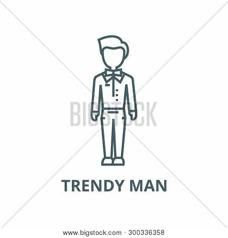 Trendy Man, Dude, Hipster Vector Line Icon, Linear Concept, Outline Sign, Symbol