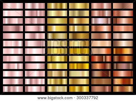 Set Of Gold Rose, Gold And Copper Foil Texture Gradation Background. Metallic Gradient Swatches. Shi