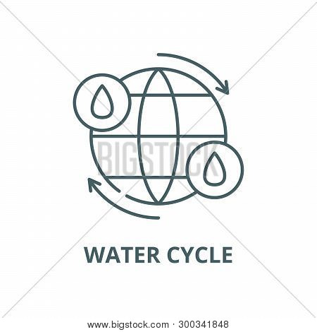 Water cycle vector line icon, linear concept, outline sign, symbol poster