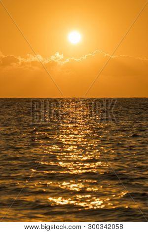 Colorful Dawn Over The Sea, Sunset. Beautiful Magic Sunset Over The Sea. Beautiful Sunset Over The O