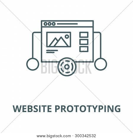 Website Prototyping Vector Line Icon, Linear Concept, Outline Sign, Symbol