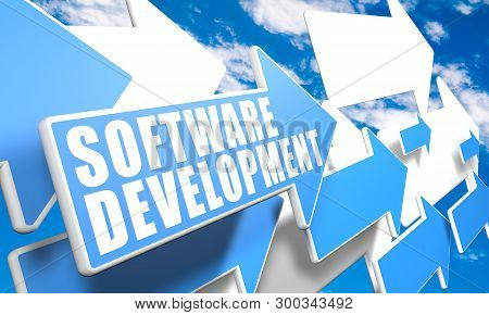 Software Development - Text Concept With Blue And White Arrows Flying In A Blue Sky With Clouds - 3d