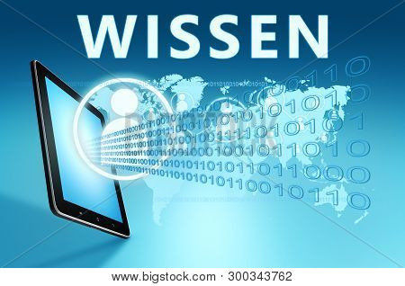Wissen - German Word For Knowledge - Text With Social Icons And Tablet Computer On Blue Digital Worl